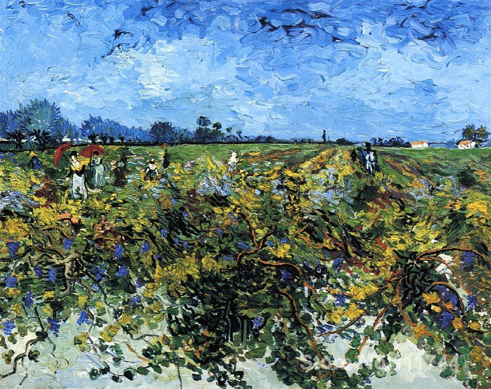 Comprar lienzo de arte en línea Vinyard verde Vincent Van Gogh reproducción pinturas pintadas a mano de alta calidad