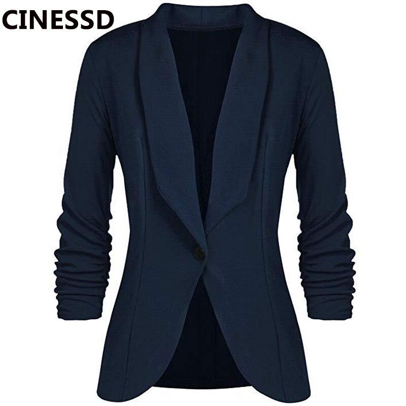 CINESSD chaqueta de mujer de oficina chaqueta cárdigan de mangas largas color sólido botón Casual azul marino drapeado Chaqueta de algodón delgado para mujer