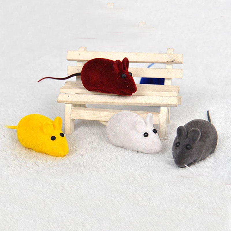 Venta 2 unids/set de Color aleatorio Gato/gatito/perro Juguetes Divertidos sonido falso ratón rata chirrido ruido