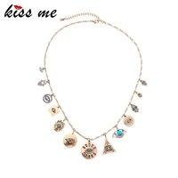 kissme hyperbole street style geometric crystal resin evil eyes pendant necklace for women vintage gold color fashion jewelry