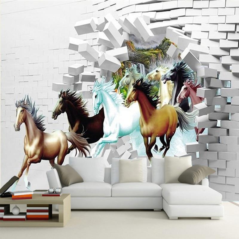 Фотообои на заказ любого размера, 3D Настенные обои, классические лошадиные обои, пейзаж, гостиная, телевизор, диван, фон, обои