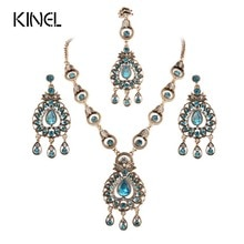 Uit India Vintage Look Sieraden Sets Hangers Ketting Oorbel Voor Vrouwen Goud-Kleur Mozaïek Blauw Kristal Party Geschenken