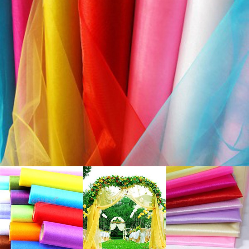 Venda barata! Alta qualidade 75cm de largura puro cristal organza tecido para decoração casamento 18 cores escolher 10 m/lote frete grátis