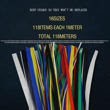 118 meters/partij Warmtekrimpbare Buis pak Gemengde Kleur set 1mm-30mm Diverse kleurrijke krimpkous geïsoleerde kabel mouwen