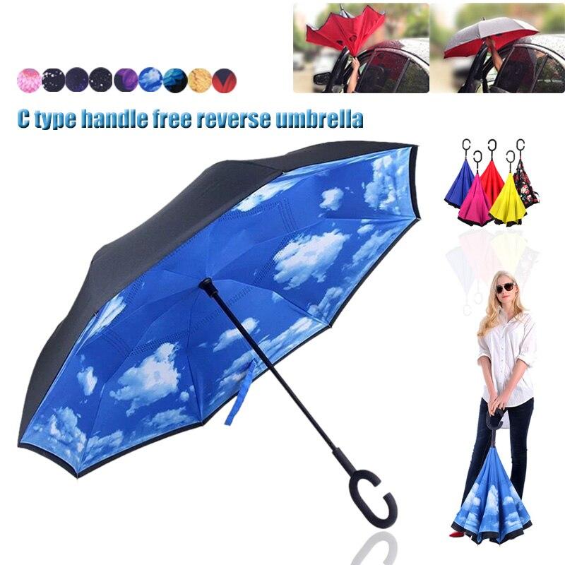 New Arrivals Men Women C Shaped Handle Reverse Folding Inverted Double Layer Windproof Rain UV Protection Wind Umbrellas