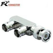 10 Stks/partij F Vorm 3 Bnc Connector Splitter 1 Bnc Stekker Naar 2 Bnc Vrouwelijke Jack Socket Adapter Coaxiale connector Voor Cctv Camera