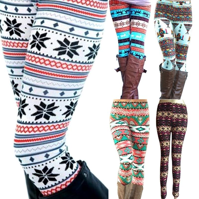 Новинка, Брендовые женские теплые зимние вязаные леггинсы со снежинками, рождественские Стрейчевые брюки с принтом, девять брюк