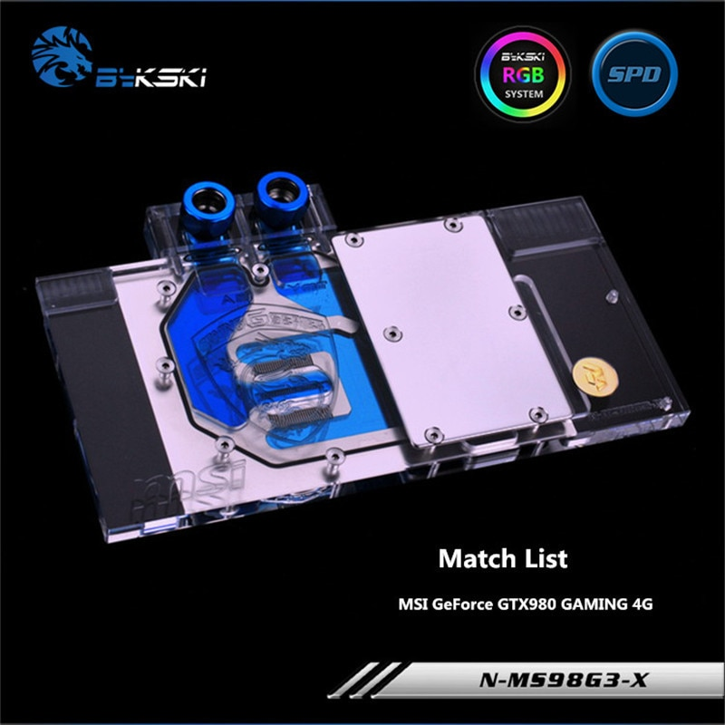 Bykski GPU Bloco De Água Completa Cove Para VGA MSI GeForce GTX980 980ti GAMING Graphics Card N-MS98G3-X