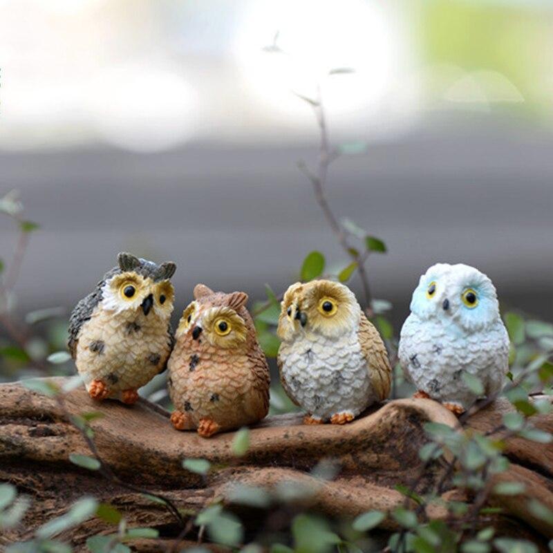Figuras de resina de ZOCDOU, 4 piezas, modelo de búho nocturno de 3cm, estatua pequeña de pájaro mineral de gato, artesanías, casa de juego, regalo para niños, ornamento de Virgo Piggy