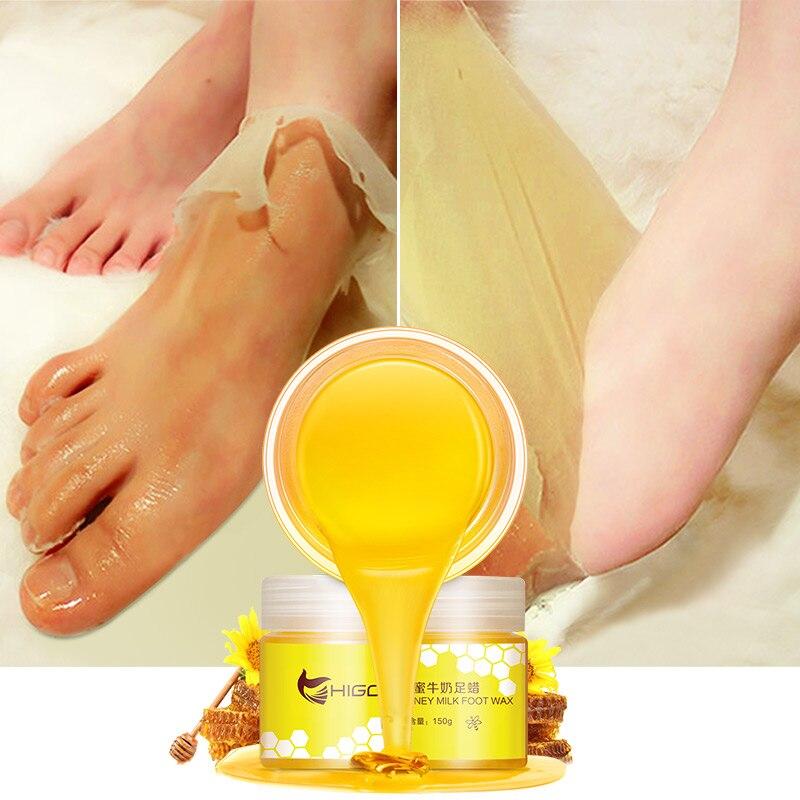 150g leche con miel mascarilla Exfoliante para pies piel muerta mascarilla hidratante contra grietas Reparación de líneas finas cuidado de la salud de los pies