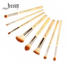 Jessup Brushes 8pcs Bamboo Professional Makeup Brush Set Pincel Maquiagem Pencil Liner Stippling Highlight Cheek Concealer T138