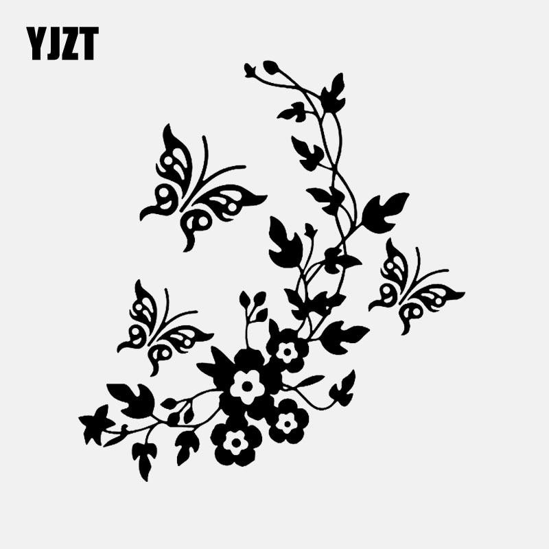 YJZT 14M * 15.3CM fleurs et papillon inspiré Design décor Art décalcomanie vinyle voiture autocollant noir/argent C24-0355