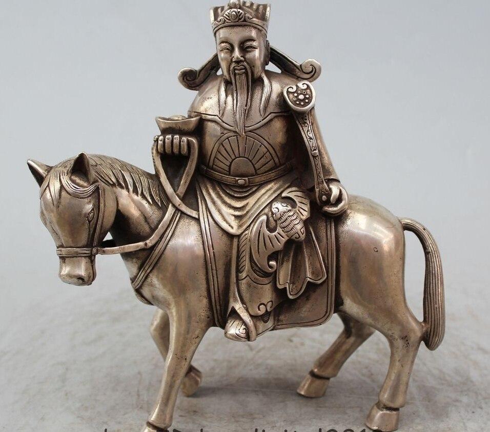 """9 """"el budismo chino de Mammon riqueza monetaria Dios paseo Año Zodiacal caballo estatua"""