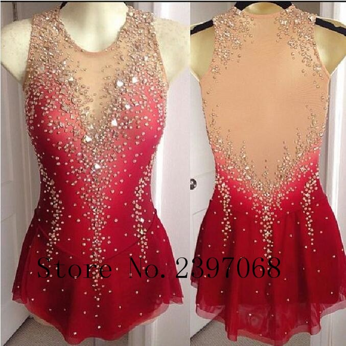 Figure Skating Dresses Red Girls Custom Ice Skating Dress Expensive Ice Skating Clothes  Women Competition Skating Skirt N54
