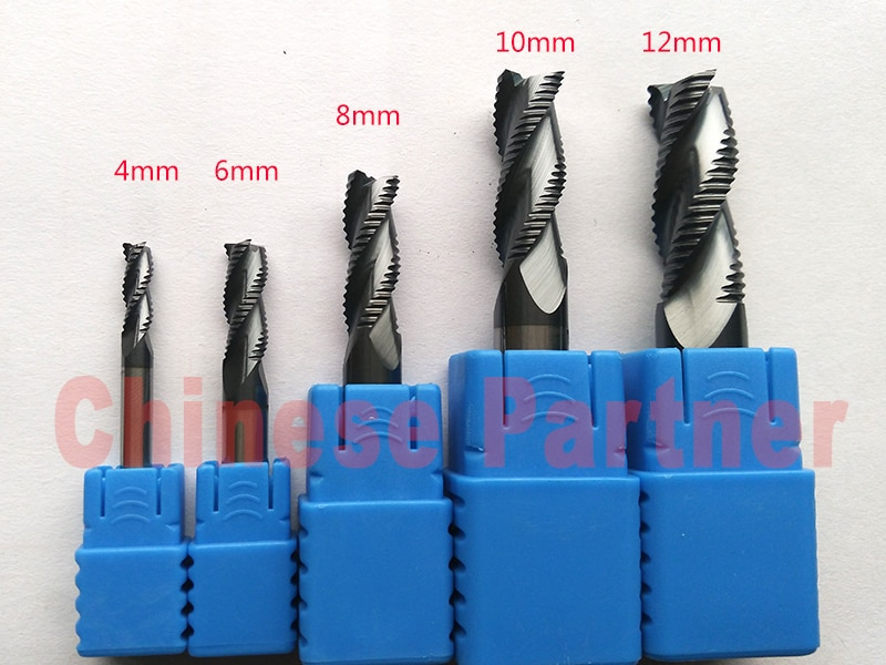 1 pc 4mm/6mm/8mm/10mm/12mm 3 final 4flutes Desbaste moinho Espiral Ferramentas Bit Fresagem Fresas CNC Router bits