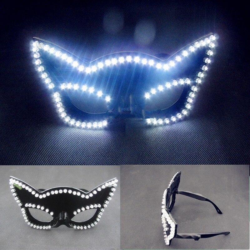 Najnowszy Led podświetlany karnawał Masquerade Party moda maska LED świecące migające okulary klub nocny kostium sceniczne stroje nosić