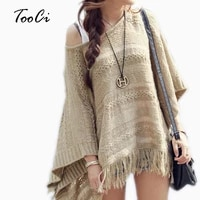 women sweater female batwing stripes fringed pullovers spring new women tops poncho shawl cape pull femme sweter