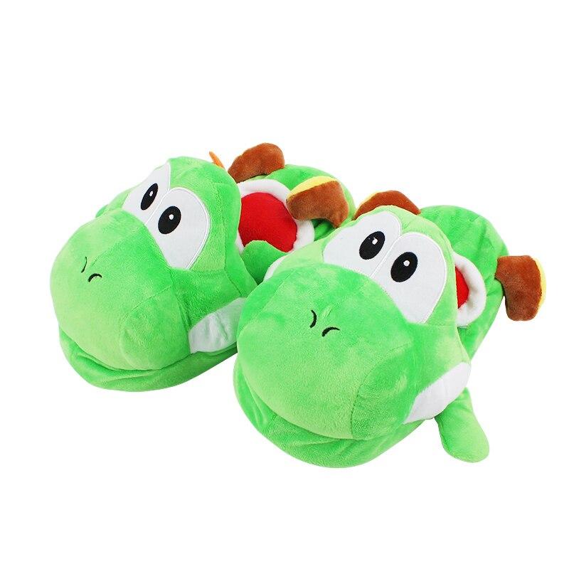 27 cm Super Mario Bros Yoshi adulte pantoufles en peluche maison hiver pantoufles chaussures mignon en peluche doux peluche pantoufles jouets pour la famille