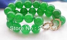 "huij 00300 Charming 2strands 8"" 14mm green round jade bead bracelet"