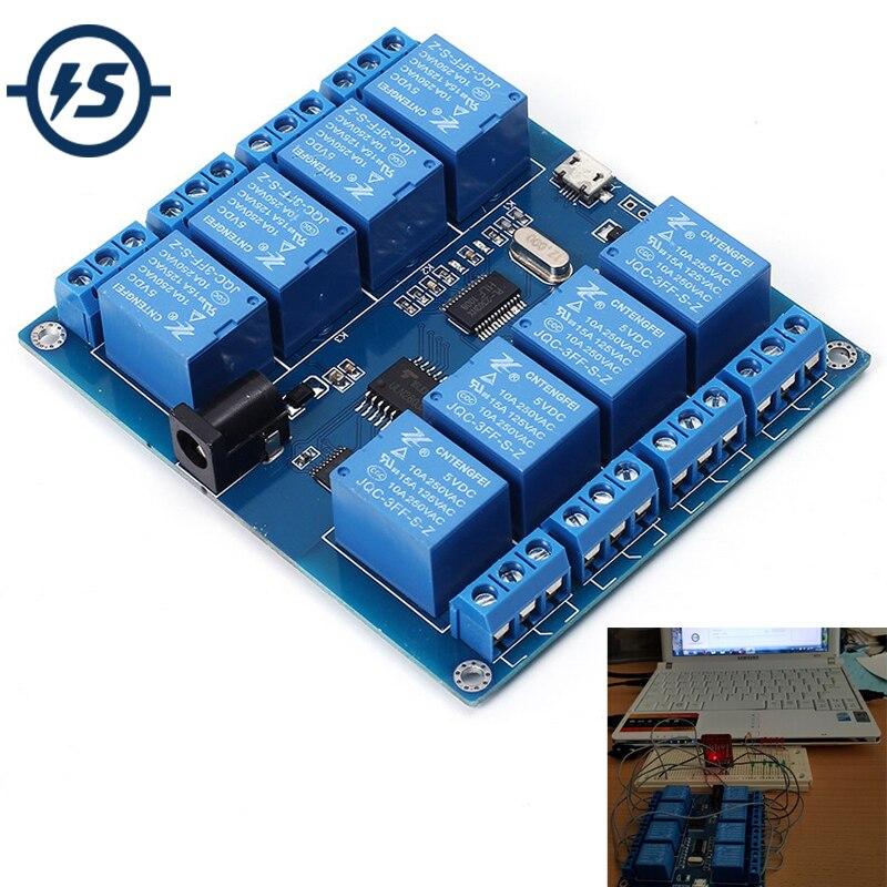 DC 5 v 10A 8 Canali Micro USB Relè Indicatore Modulo Bordo di PC Computer Superiore ICSE014A Software di Controllo