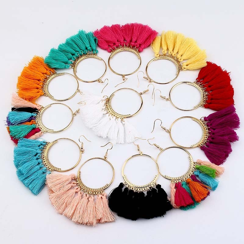 Boho Statement Tassel Earrings For women vintage Big Round Drop Dangle Bridal Wedding Party Fringed 2019 Jewelry Gift