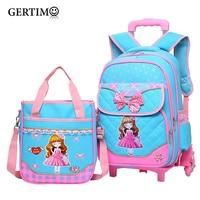 2Pcs/set Children Trolley School Bag Backpack Wheeled School Bag For Grils Kids Wheel Schoolbag Student Backpacks Luggage Bags