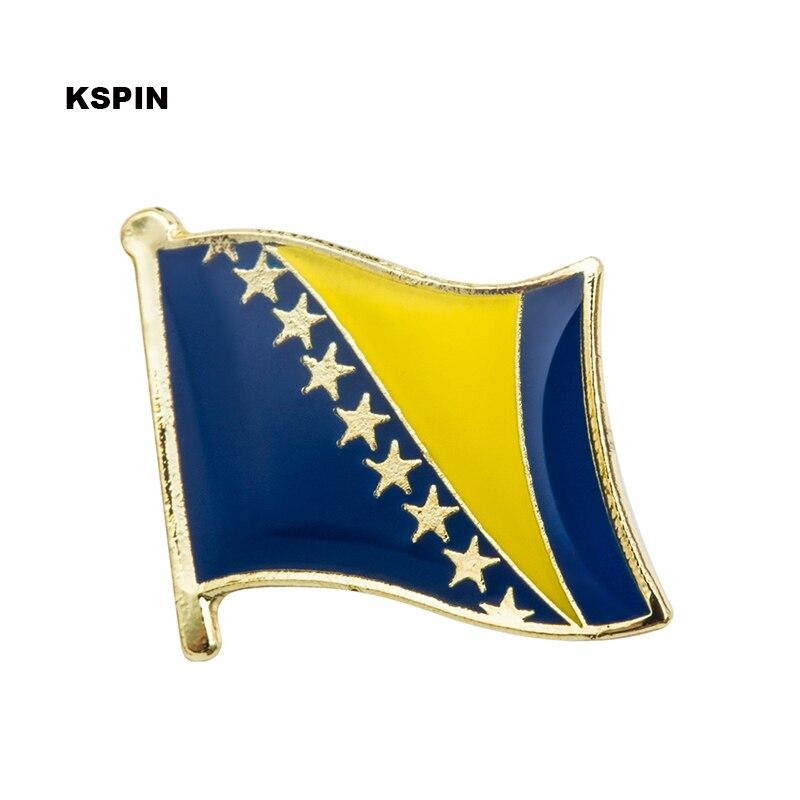 Insignias de la bandera nacional de bosnio Pin de Metal para la ropa Rozet Makara monedas réplica KS-0036