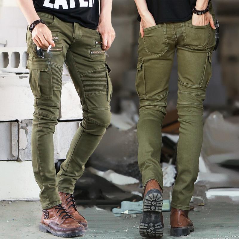 Green Black Denim Biker jeans Mens Skinny 2019 Runway Distressed slim elastic jeans hiphop Washed