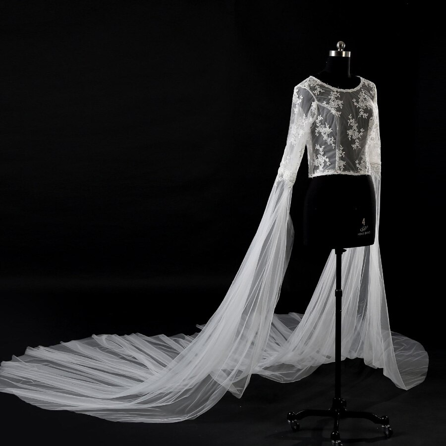 Bolero casamento new O-Neck lace bead manga comprida luxo 3 m capas de noiva real photo evening casamento jacket personalizado capa mariage