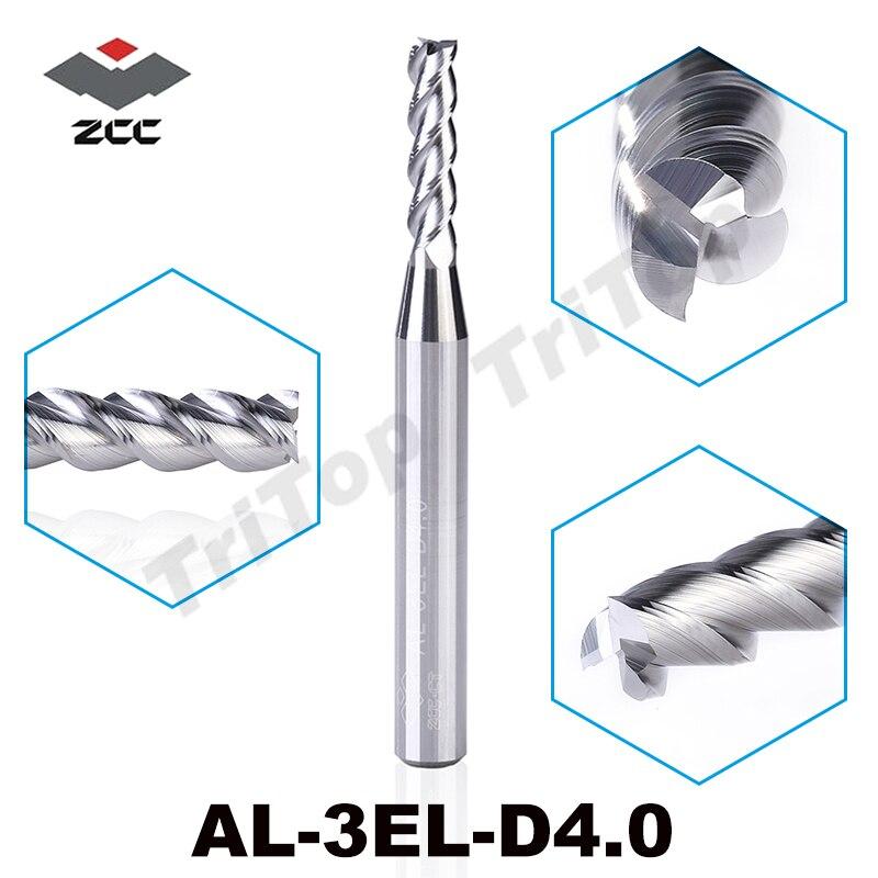 2 pçs/lote ZCC. CT AL-3EL-D4.0 3 metal duro fresa flauta fresagem cnc ferramenta de extensão ponta 4mm para o alumínio