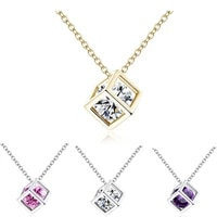 exquisite square rubiks cube shape crystal three dimensionalpendant necklace cz women females chocker clavicle candy jewelry