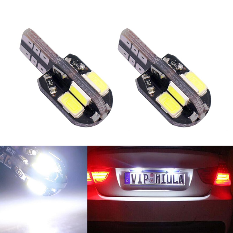 Luz de placa de matrícula sin errores 2x T10 W5W para Toyota Corolla Avensis Rav4 Yaris Hilux Prius