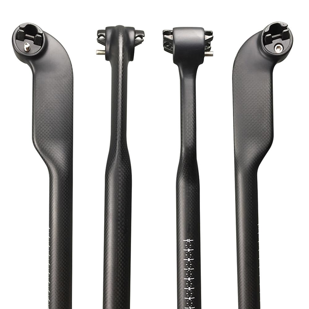 Full 3K Carbon Seatpost Bike MTB/Road Bicycle Seat Tube 27.2/30.8/31.6mm Offset 25mm Matte Finish Length 350/400mm