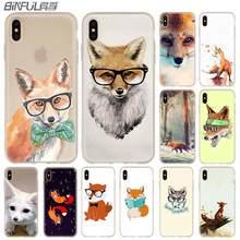 Phone Cases soft Cover for iPhone 11 Pro X XS Max XR 6 6S 7 8 Plus 5 4S SE 2020 Mr Fox glasses Bag Funda coque etui bumper Case