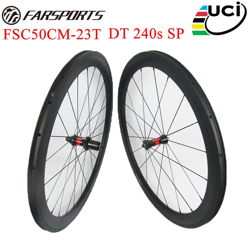 Light weight DT 240s hubs carbon wheelset 50mm 23mm carbon racing bike wheels , 20H / 24H with UD matt 18 months warranty