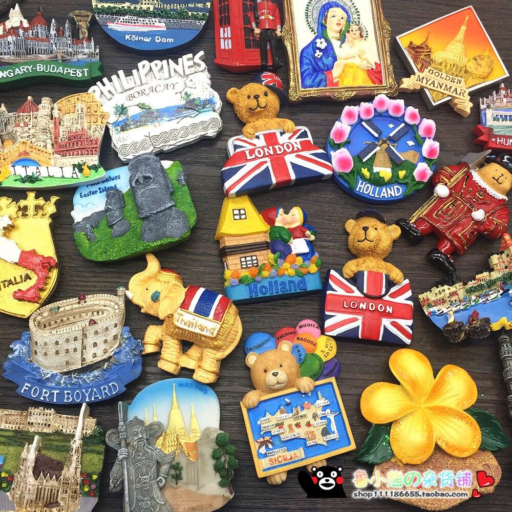 1 Uds nuevo Tailandia Japón Corea Roma Londres Viena Italia Países Bajos Francia Finlandia nevera imán recuerdos turísticos