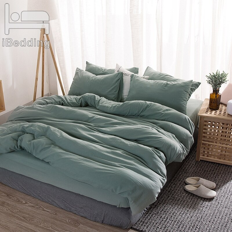 Washed Cotton Bedding Set Solid Duvet Cover Set Soft Grey Bedclothes Japanese Style Home Bed Super King Size Bed Linens Bed Set