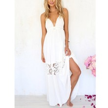 Summer Sexy Women V Neck Boho Lace Long Maxi Evening Party Dress Backless Dresses Beach Wear White Party Vestido