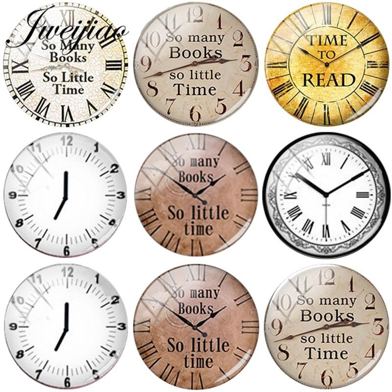 Imágenes de reloj Retro Vintage JWEIJIAO, tantos libros, tan poco tiempo DIY, cabujón domo de vidrio, demostración, hallazgos de joyería con parte posterior plana