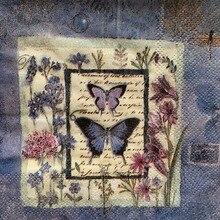 Serviette de table en papier 25cm   Tissu bleu élégant, motif fleur papillon libellule, serviettes pour fête danniversaire 20 cm