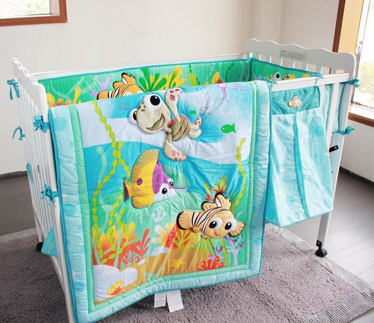 7pcs baby bedding set baby ropa cuna crib bedding set cartoon animal baby crib set (4bumpers+duvet+bed cover+bed skirt)