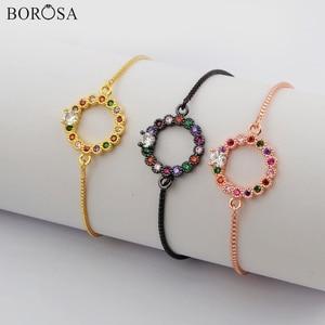 BOROSA Jewelry 10/20PCS Round Shape Rainbow CZ Micro Pave Connectors 10inch Adjustable Bracelet Charm Bracelet Jewelry WX1144-B
