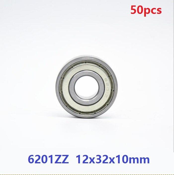 50 unids/lote 6201ZZ 6201-ZZ 6201 ZZ 2Z 12*32*10mm rodamiento rígido de bolas de 12x32x10mm rodamientos 6201Z