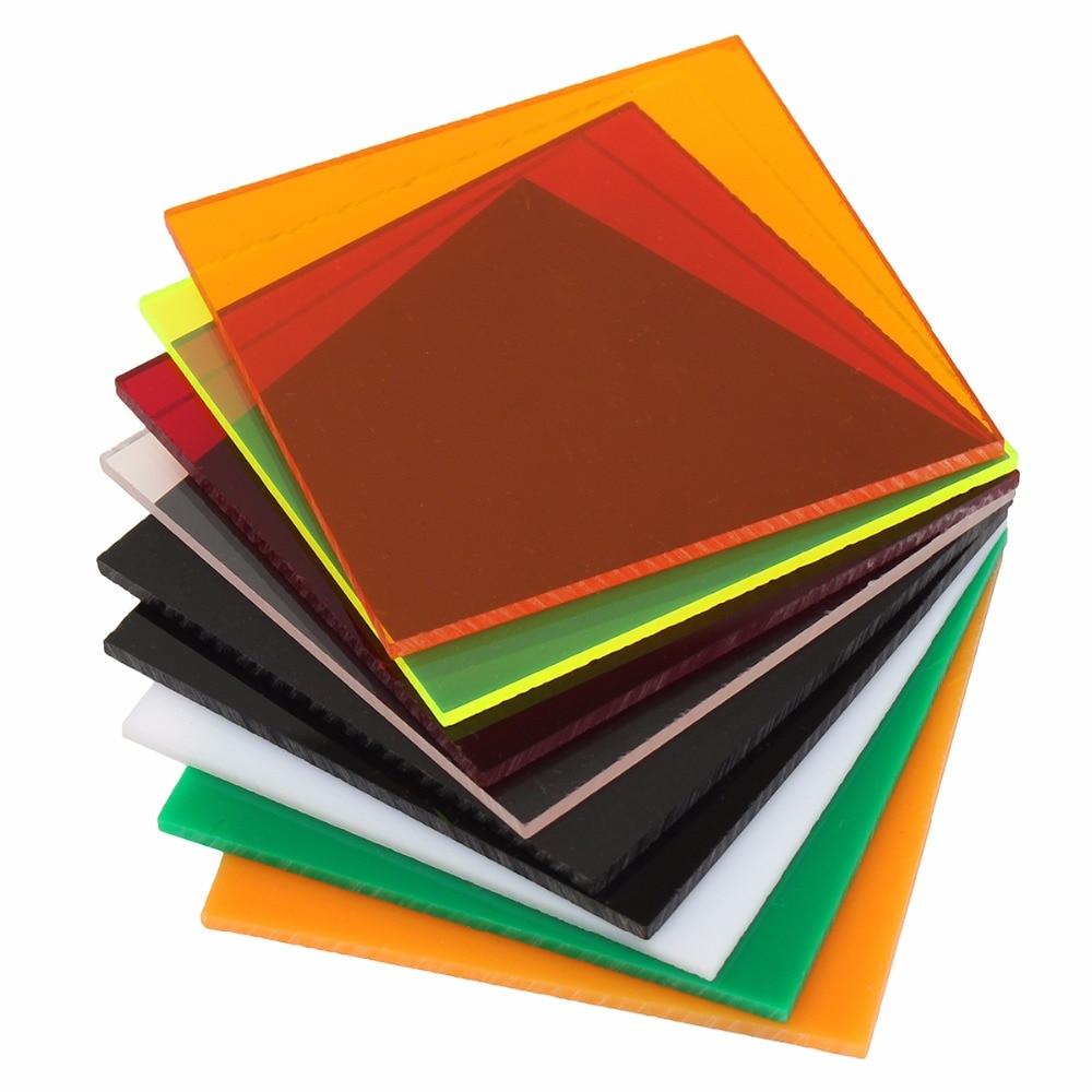 Прозрачные Акриловые (PMMA) листы из плексигласа, Затемненные листы, пластина из плексигласа, акриловая пластина черного/белого/Красного/зеленого/оранжевого цвета, 100x100x2,8 мм