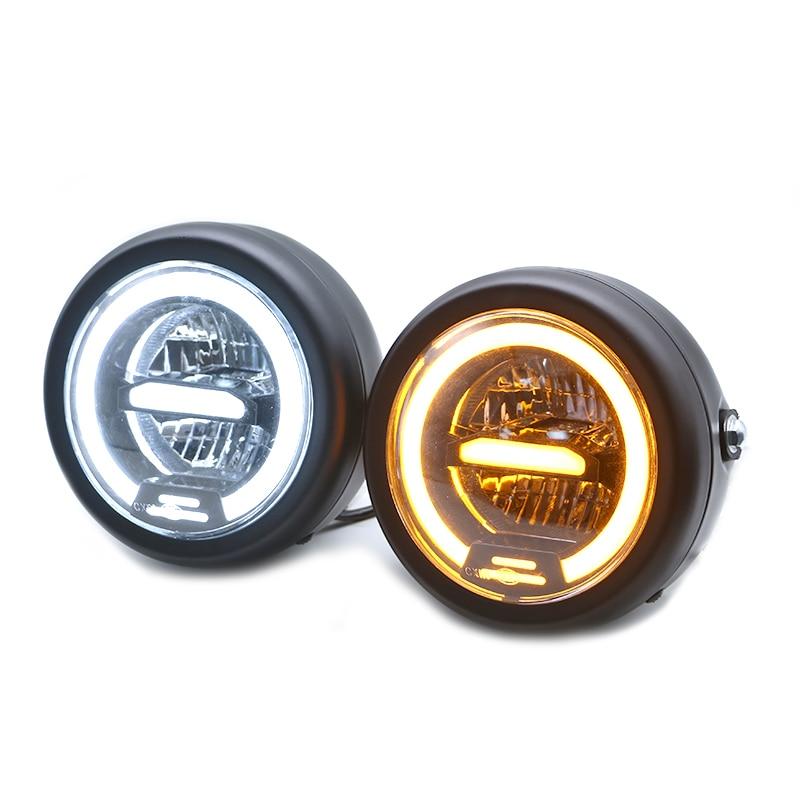 6.8 LED Universal Retro Motorcycle Headlight Angel Eye 55W High Low Beam Head Lamp For Harley Chopper Bobber Curisers Bikes