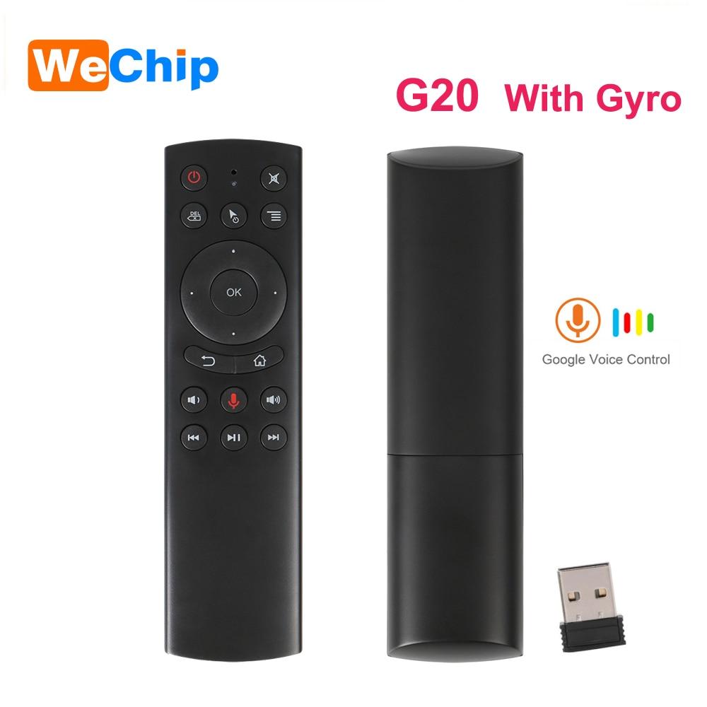 Wechip G20S 2,4G inalámbrico Air Mouse Gyro Control de voz de Mini teclado G20 Control remoto Mini PC Android TV Box