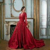 vintage burgundy evening dresses 2018 long sleeve applique beaded luxury lace floral prom dress satin vestido de fiesta en9
