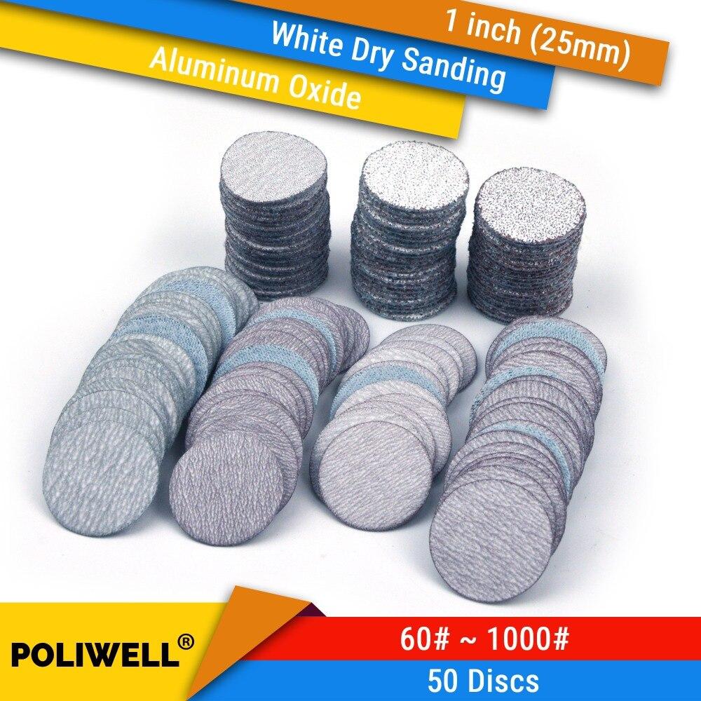 50PCS 1 Polegada (25mm) hook & Loop Rodada Lixa de Óxido de alumínio Branco Seco Lixar Discos para Dremel Ferramentas de Polimento Acessórios