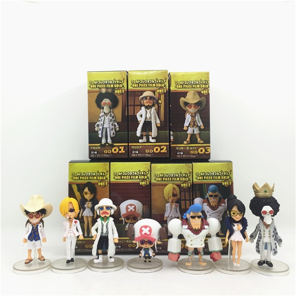 7 Uds WCF Anime cómic Eiichiro Oda una pieza el sombrero de paja piratas Luffy Sanji Usopp Chopper teatro edición figura figurita juguete