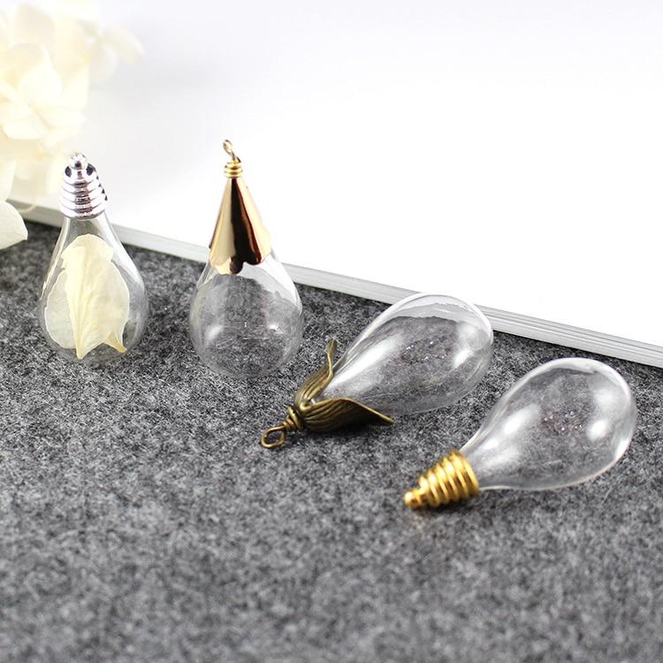 2 PCS 31X18 MM Runde Tropfen Bottom glühbirne vase glas Mit Twisted Metal Caps DIY glas Fläschchen Anhänger schmuck zubehör